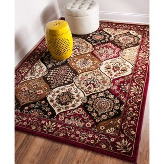 Wentworth Panel Lattice Trellis Floral Border Red, Brown, Ivory, and Beige Area Rug (9'3 x 12'6)