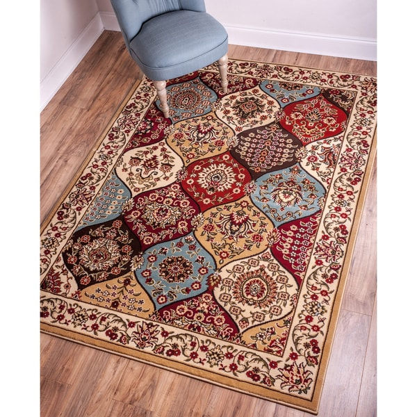 Wentworth Panel Multi Lattice Trellis Floral Border Ivory, Beige, Blue, Brown, and Red Area Rug (9'3 x 12'6)