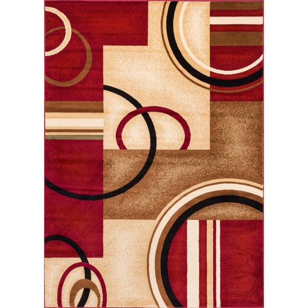 Arcs and Shapes Abstract Modern Circles and Boxes Red, Ivory, and Beige Area Rug (9'3 x 12'6)