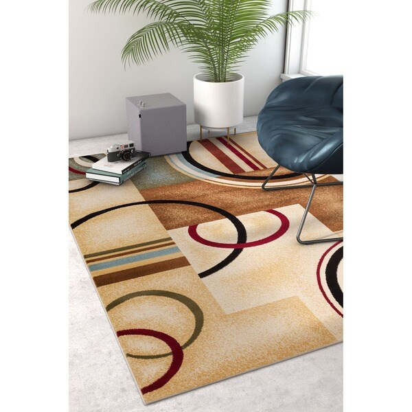 "Arcs and Shapes Natural Modern Abstract Geometric Ivory, Beige, Brown, Blue and Red Area Rug - 9'3"" x 12'6"""