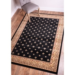 Dallas Formal European Floral Border Diamond Field Black, Beige, and Ivory Area Rug (9'3 x 12'6)