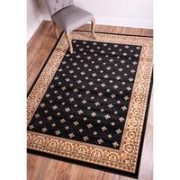 "Well Woven Dallas Formal European Floral Border Diamond Field Black, Beige, Ivory Area Rug - 9'3"" x 12'6"""