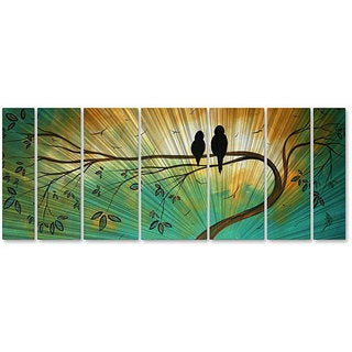 Megan Duncanson 'Love Birds' Metal Wall Art