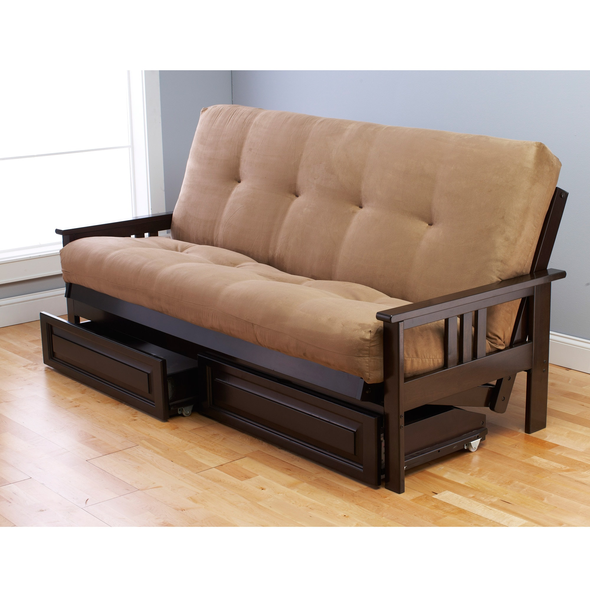 Somette Beli Mont Multi-Flex Espresso Hardwood Futon Frame, Drawers and Mattress  Set