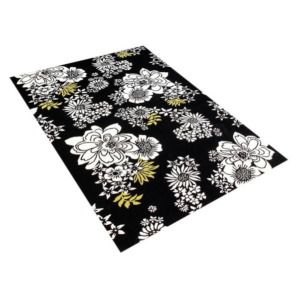 Handmade Sabrina Black New Zeeland Blend Wool Rug - 8' x 10'