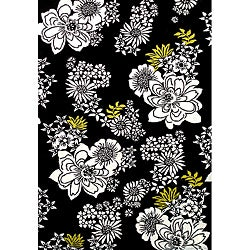 Alliyah Handmade Tufted Black White Flowers New Zealand