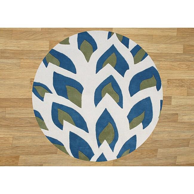 Hand Made Flame Inspiration Twilight Blue New Zealand Blend Wool Rug 6 Foot Rd