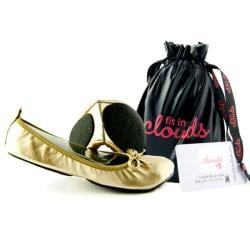 Fit In Clouds Women's Gold Patent Foldable Flats