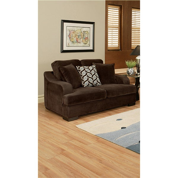 Furniture of America Kailer Chocolate Suede Loveseat