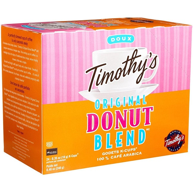 Timothy's World Coffee Original Donut Blend K-Cup for Keurig Brewers (Case of 96)