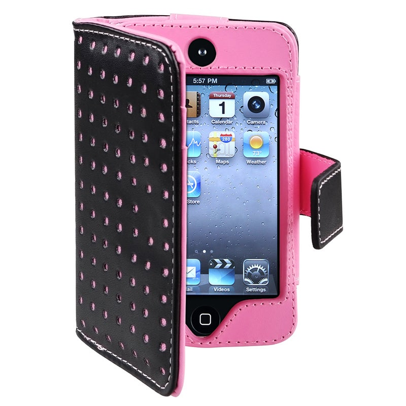 INSTEN Black/ Pink Dot Leather Wallet iPod Case Cover for Apple iPod Touch Generation 4 - Thumbnail 0