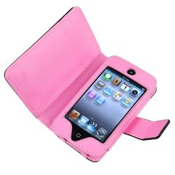INSTEN Black/ Pink Dot Leather Wallet iPod Case Cover for Apple iPod Touch Generation 4 - Thumbnail 1
