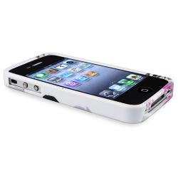 INSTEN White/ Purple Flower TPU Phone Case Cover for Apple iPhone 4/ 4S - Thumbnail 1