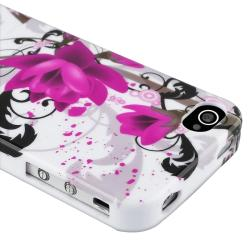 INSTEN White/ Purple Flower TPU Phone Case Cover for Apple iPhone 4/ 4S - Thumbnail 2