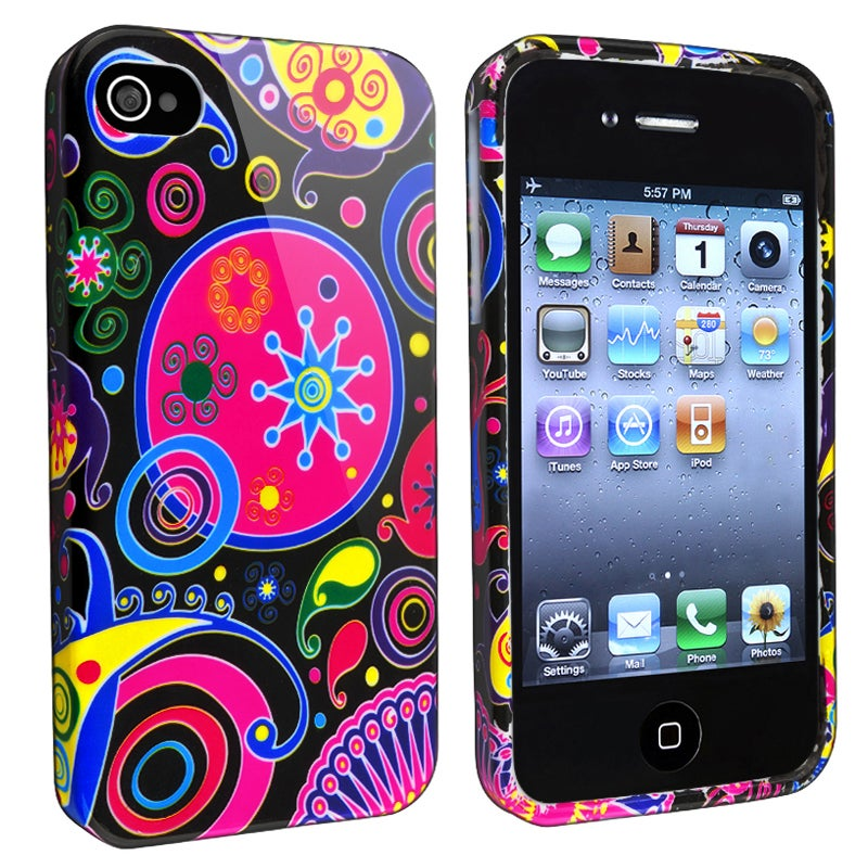 Black/ Colorful Fish and Circles TPU Case for Apple iPhone 4/ 4S