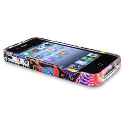 Black/ Colorful Fish and Circles TPU Case for Apple iPhone 4/ 4S - Thumbnail 1