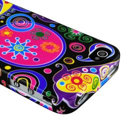 Black/ Colorful Fish and Circles TPU Case for Apple iPhone 4/ 4S - Thumbnail 2