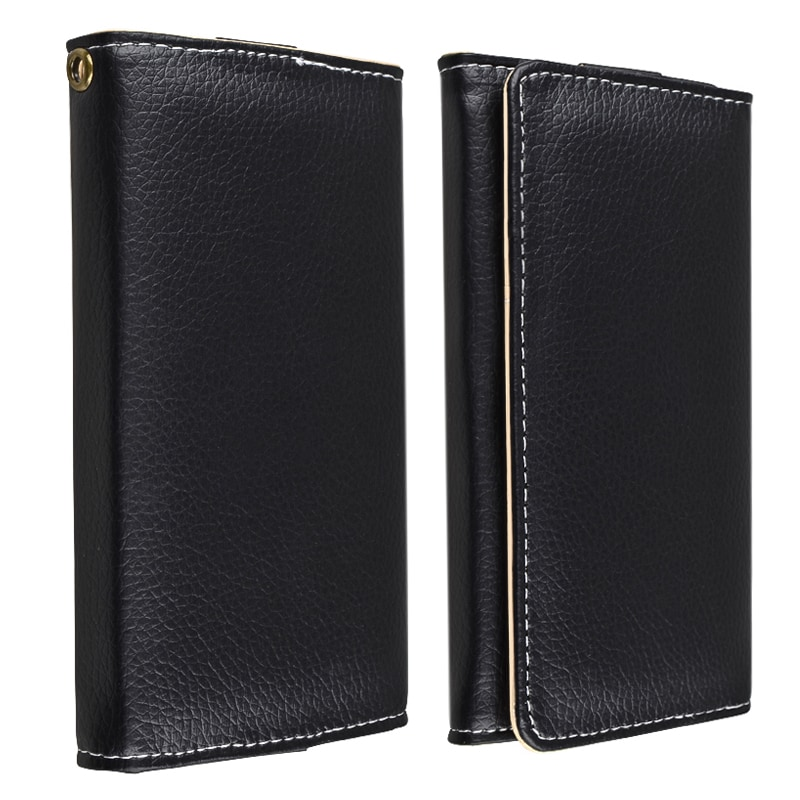 INSTEN Black Universal Leather Wallet Phone Case Cover for Cell Phone