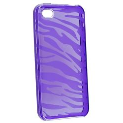 INSTEN Purple Zebra Case Cover/ LCD Protector/ Headset Wrap for Apple iPhone 4S - Thumbnail 1