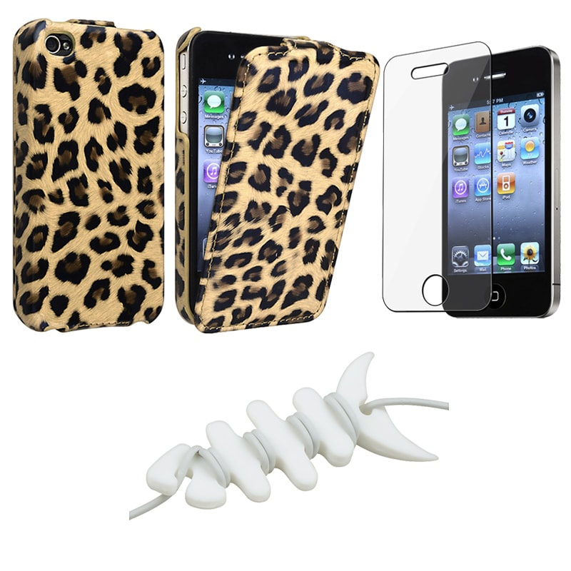 INSTEN Brown Leopard Phone Case Cover/ LCD Protector/ Headset Wrap for Apple iPhone 4S
