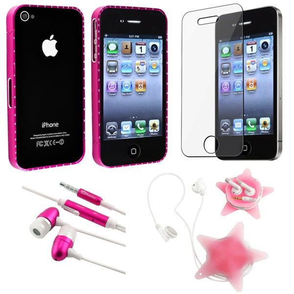 BasAcc Pink Bumper/ LCD Protector/ Wrap/ Headset for Apple iPhone 4S