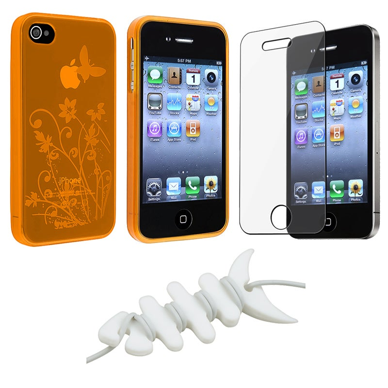 INSTEN Orange Flower Butterfly Case Cover/ LCD Protector/ Wrap for Apple iPhone 4S