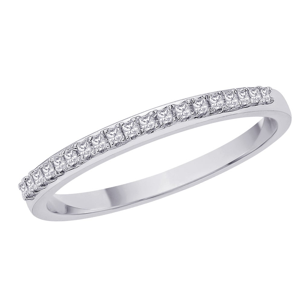 Sterling Silver 1/6ct TDW Diamond Wedding Eternity Band - Thumbnail 0
