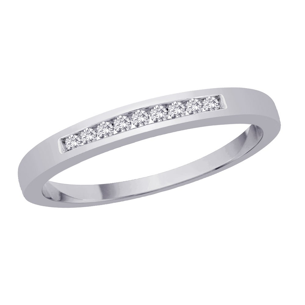 10k White Gold 1/10ct TDW Diamond Wedding Band (J-K, I2-I3)