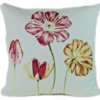 Blooming Floral Cream 26x26-inch Decorative Pillow - White