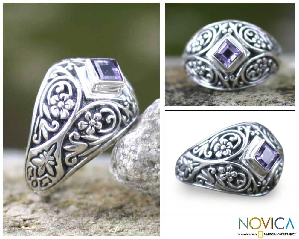 Handmade Sterling Silver 'Bali Treasure' Amethyst Domed Ring (Indonesia)