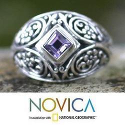 Handmade Sterling Silver 'Bali Treasure' Amethyst Domed Ring (Indonesia) - Thumbnail 1