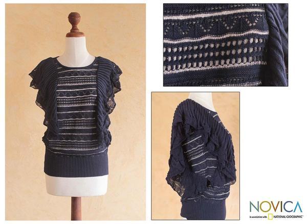 Cotton Blend 'Inca Butterfly' Sweater (Peru)
