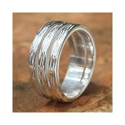 Handmade Sterling Silver 'Thai Bamboo' Ring (Thailand)