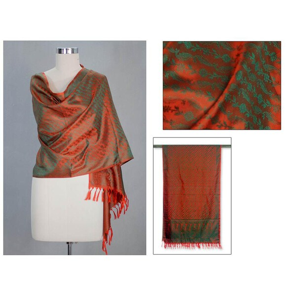 Shop Handmade Banarasi Silk 'Orange Borealis' Shawl (India) - On