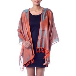 Banarasi Silk 'Orange Borealis' Shawl (India)