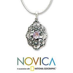 Handmade Sterling Silver 'Balinese Romance' Amethyst Necklace (Indonesia) - Thumbnail 2