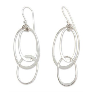 Handmade Sterling Silver 'Linked to You' Dangle Earrings (Indonesia)