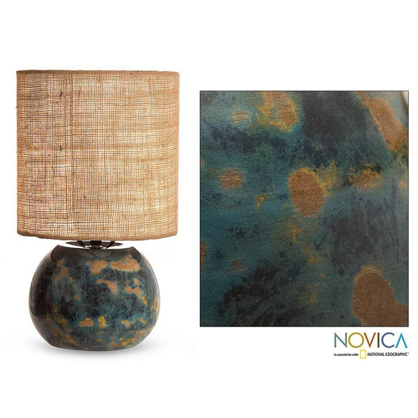 Handcrafted Ceramic 'Caribbean Islands' Lamp (Mexico)