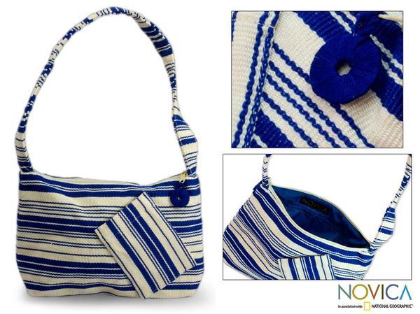 Cotton 'Colors of My Ocean' Medium Shoulder Bag (Guatemala)