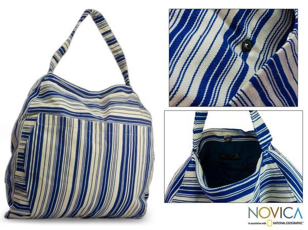Cotton 'Colors of My Ocean' Medium Travel Bag (Guatemala)