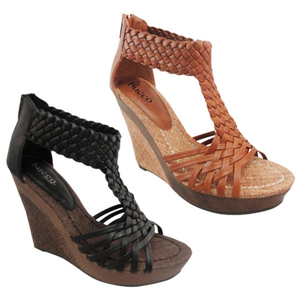 aefa1fc608e Shop Bucco Women s  Alamea  Faux Leather Wedged T-straps - Free Shipping On  Orders Over  45 - Overstock - 6737069