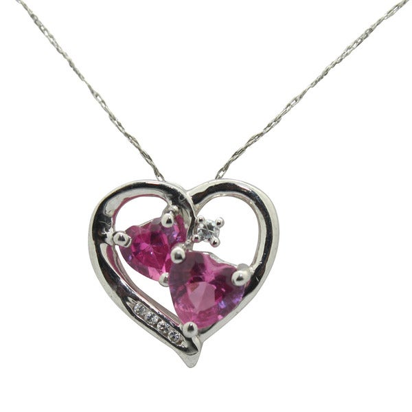 Gioelli Sterling Silver Created Pink Sapphire and Cubic Zirconia Heart Necklace