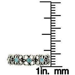 Carolina Glamour Collection Sterling Silver Triple Blue Crystal Flower Toe Ring