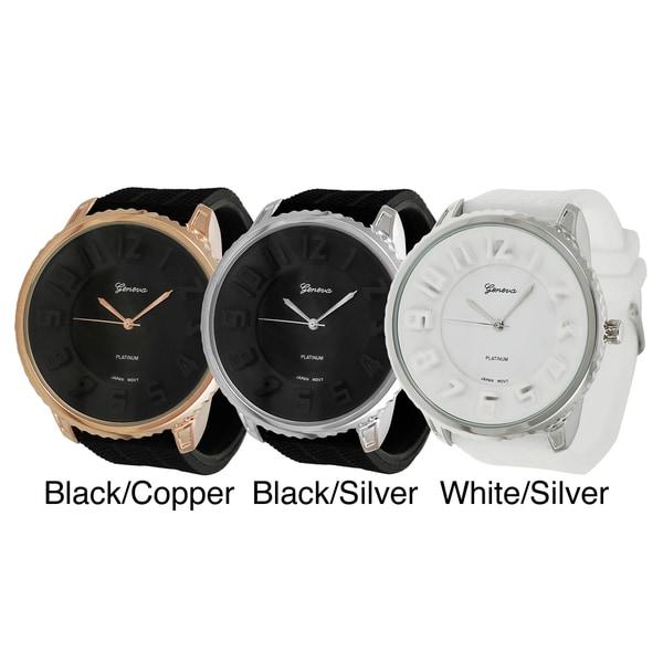 Geneva Platinum Men's Contemporary Silicone Watch