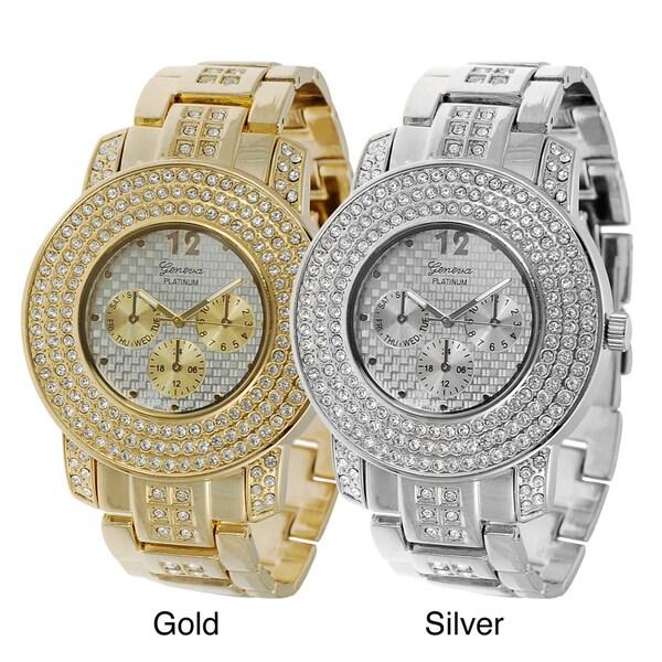 Geneva Platinum Men's Rhinestone-accented Chronograph-style Link Watch