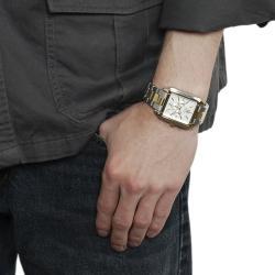 Quartz Geneva Platinum Men's Rhinestone-accented Silicone Watch