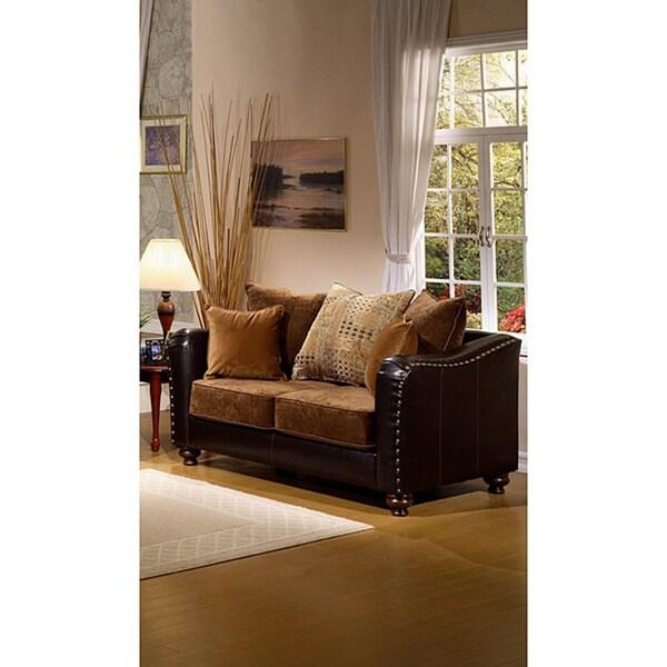 Furniture of America Classic Faux Leather Valira Loveseat