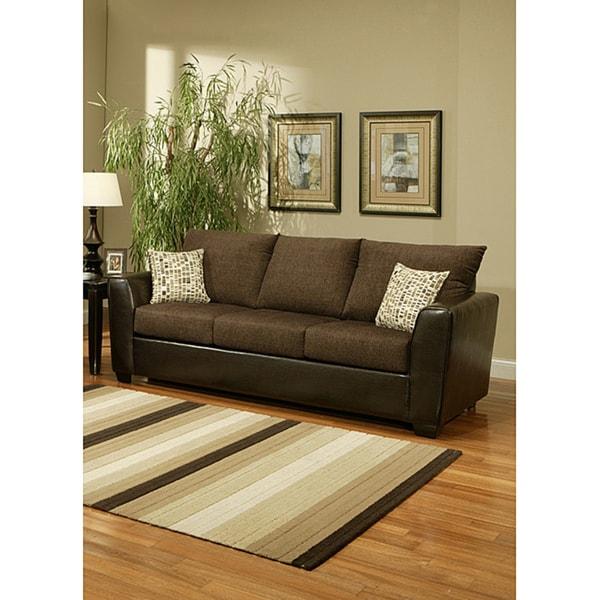Furniture of America Porta Chenille Chocolate Brown Sofa