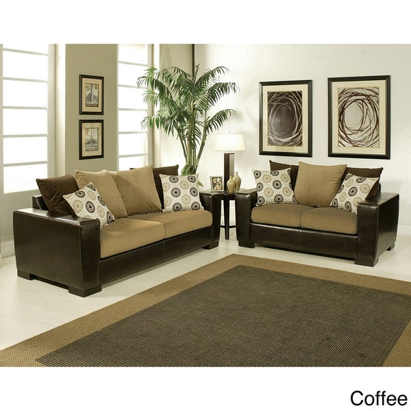 Furniture of America Benosa Micro Velvet 2-piece Sofa and Loveseat Set