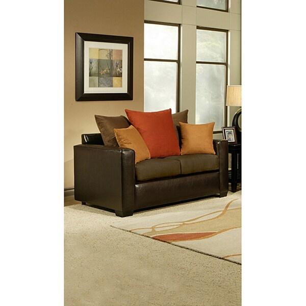 Furniture of America Roxanne Microsuede Leatherette Loveseat